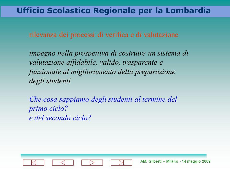 AM. Gilberti – Milano - 14 maggio 2009 Ufficio Scolastico Regionale per la Lombardia rilevanza dei processi di verifica e di valutazione impegno nella
