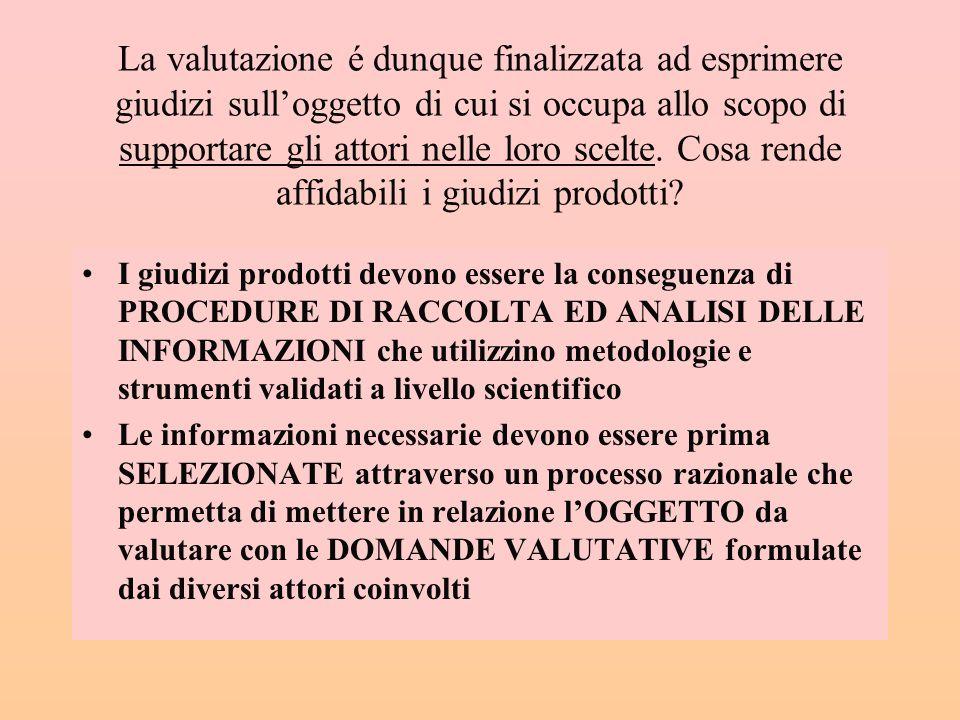 Una definizione di VALUTAZIONE La valutazione é unattivitá cognitiva rivolta a fornire UN GIUDIZIO su unazione intenzionalmente svolta o che si intend