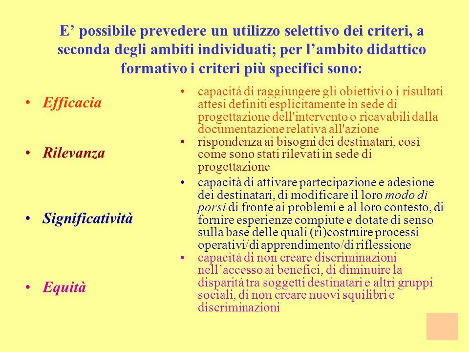 Alcuni esempi di CRITERI: Efficacia Rilevanza Efficienza Funzionalitá Significativitá Equitá capacitá di raggiungere gli obiettivi o i risultati attes