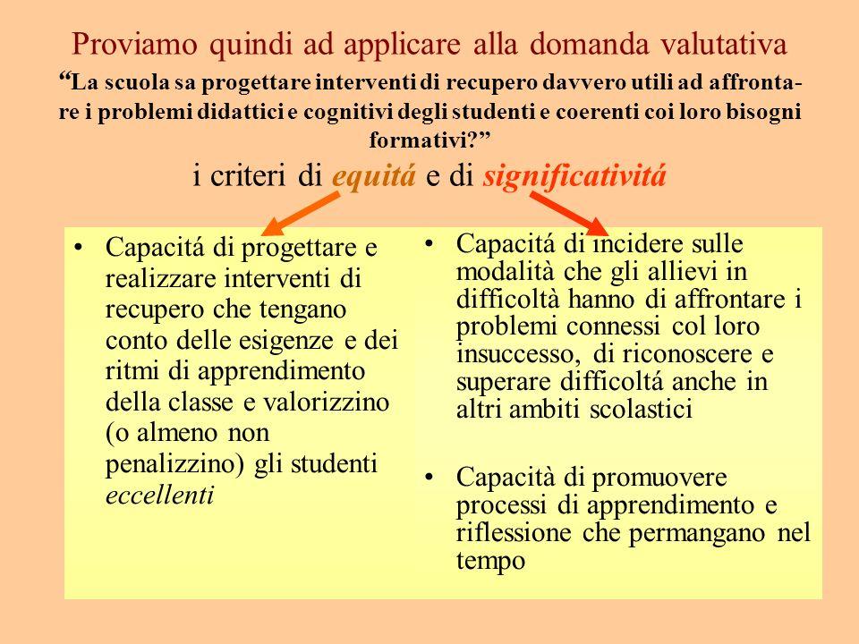 I fattori di qualità costituiscono quindi le dimensioni concettuali in cui si articola la domanda valutativa e rappresentano quei requisiti che caratt