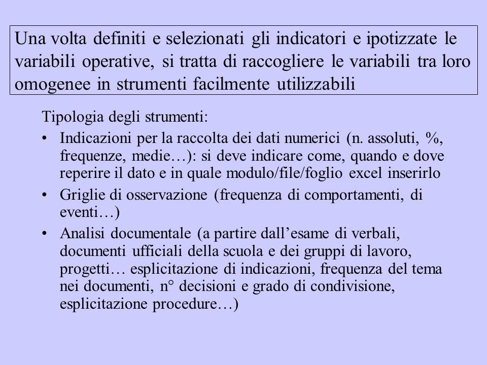 Indicatori: criteri per la selezione Individuati gli indicatori, si possono selezionare applicando i seguenti criteri: Sensibilitá: quanto un indicato