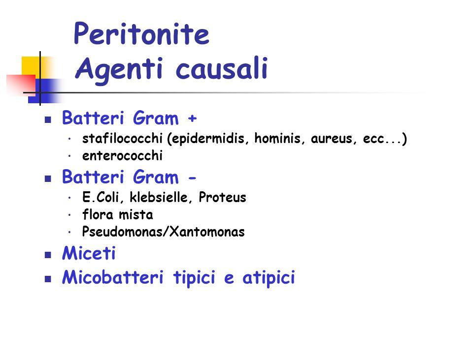 Peritonite Agenti causali Batteri Gram + stafilococchi (epidermidis, hominis, aureus, ecc...) enterococchi Batteri Gram - E.Coli, klebsielle, Proteus flora mista Pseudomonas/Xantomonas Miceti Micobatteri tipici e atipici
