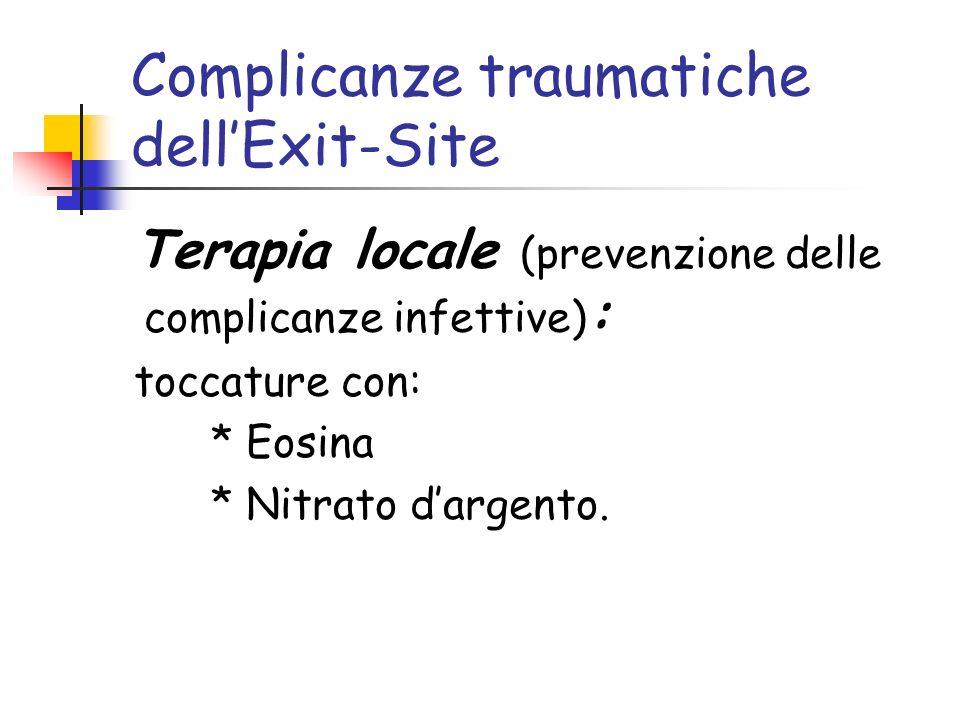 Complicanze traumatiche dellExit-Site Terapia locale (prevenzione delle complicanze infettive) : toccature con: * Eosina * Nitrato dargento.