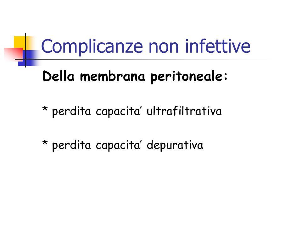 Complicanze non infettive Della membrana peritoneale: * perdita capacita ultrafiltrativa * perdita capacita depurativa