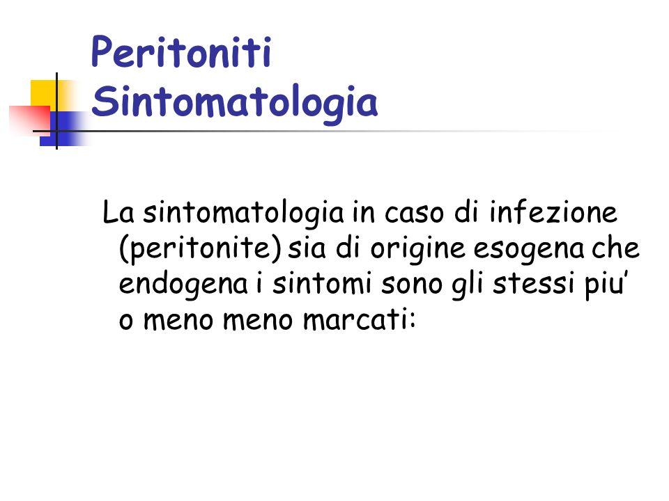 Peritoniti Sintomatologia La sintomatologia in caso di infezione (peritonite) sia di origine esogena che endogena i sintomi sono gli stessi piu o meno meno marcati: