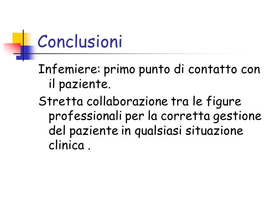 Conclusioni Infemiere: primo punto di contatto con il paziente.