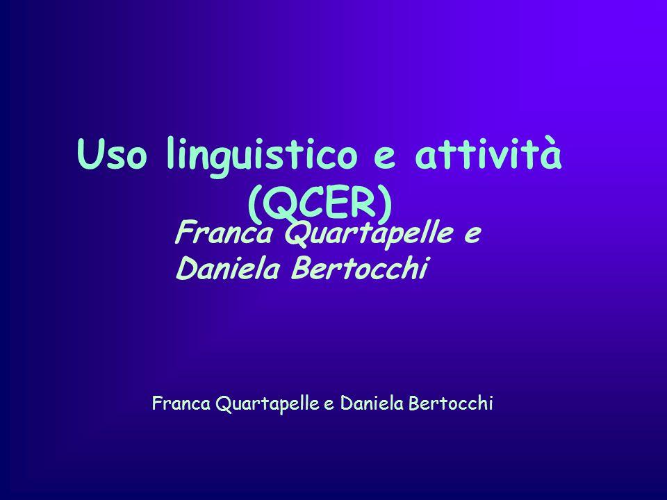 Uso linguistico e attività (QCER) Franca Quartapelle e Daniela Bertocchi