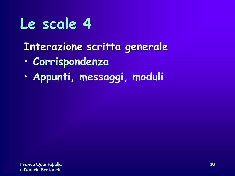 Franca Quartapelle e Daniela Bertocchi 10 Le scale 4 Interazione scritta generale Corrispondenza Appunti, messaggi, moduli