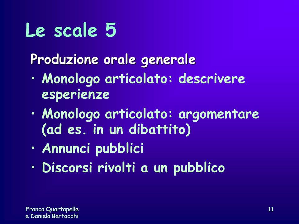 Franca Quartapelle e Daniela Bertocchi 11 Le scale 5 Produzione orale generale Monologo articolato: descrivere esperienze Monologo articolato: argomen