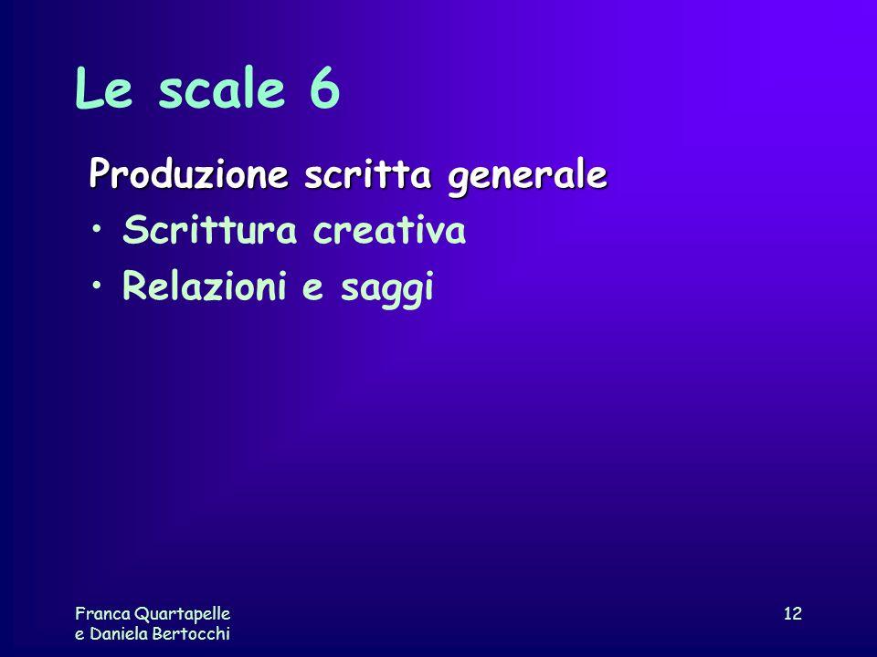 Franca Quartapelle e Daniela Bertocchi 12 Le scale 6 Produzione scritta generale Scrittura creativa Relazioni e saggi