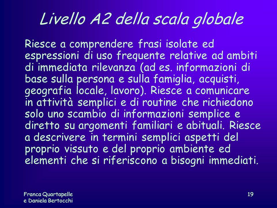 Franca Quartapelle e Daniela Bertocchi 19 Livello A2 della scala globale Riesce a comprendere frasi isolate ed espressioni di uso frequente relative a
