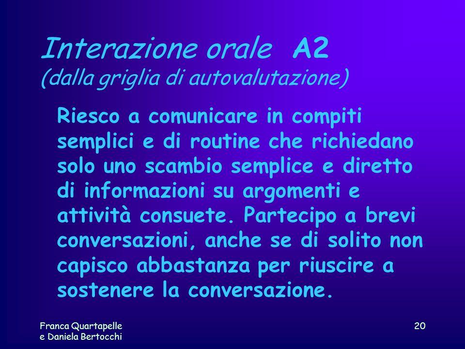 Franca Quartapelle e Daniela Bertocchi 20 Interazione orale A2 (dalla griglia di autovalutazione) Riesco a comunicare in compiti semplici e di routine