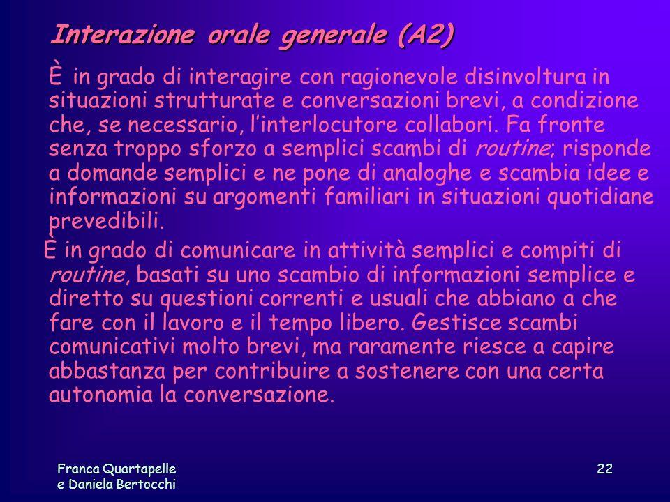 Franca Quartapelle e Daniela Bertocchi 22 Interazione orale generale (A2) È in grado di interagire con ragionevole disinvoltura in situazioni struttur