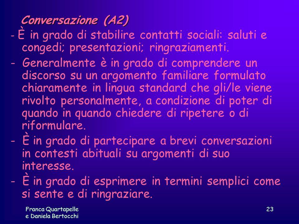 Franca Quartapelle e Daniela Bertocchi 23 Conversazione (A2) - È in grado di stabilire contatti sociali: saluti e congedi; presentazioni; ringraziamen