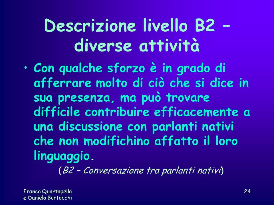 Descrizione livello B2 – diverse attività Con qualche sforzo è in grado di afferrare molto di ciò che si dice in sua presenza, ma può trovare difficil