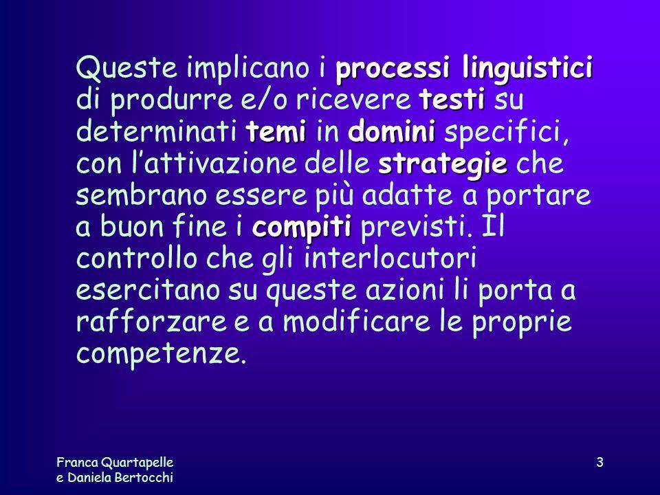 Franca Quartapelle e Daniela Bertocchi 3 processi linguistici testi temidomini strategie compiti Queste implicano i processi linguistici di produrre e