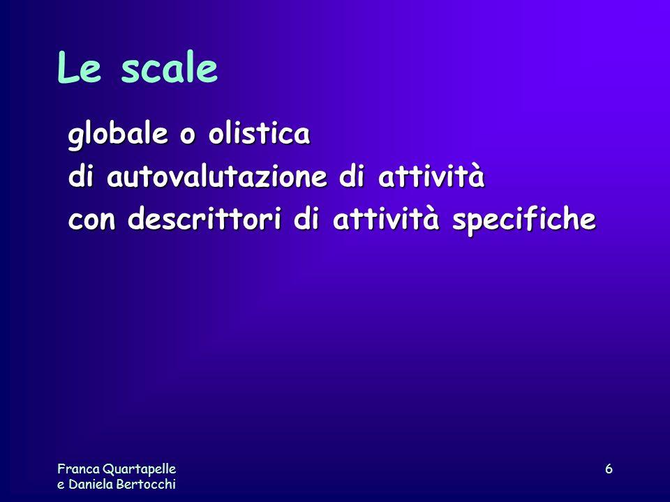 Franca Quartapelle e Daniela Bertocchi 6 Le scale globale o olistica di autovalutazione di attività con descrittori di attività specifiche
