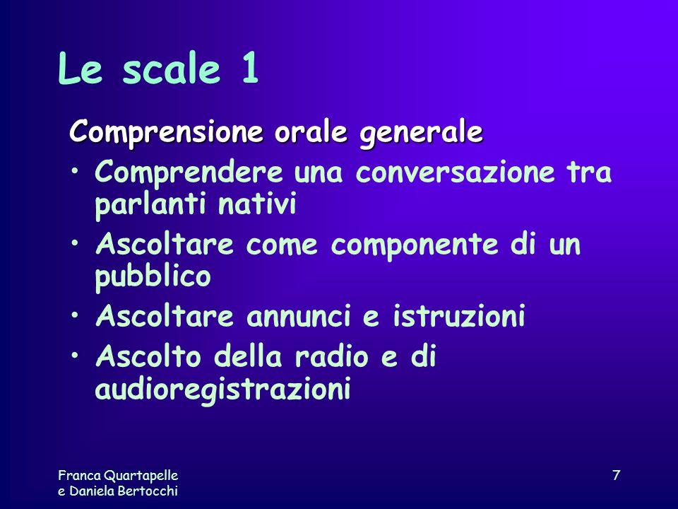 Franca Quartapelle e Daniela Bertocchi 7 Le scale 1 Comprensione orale generale Comprendere una conversazione tra parlanti nativi Ascoltare come compo