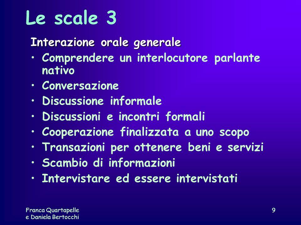 Franca Quartapelle e Daniela Bertocchi 9 Le scale 3 Interazione orale generale Comprendere un interlocutore parlante nativo Conversazione Discussione