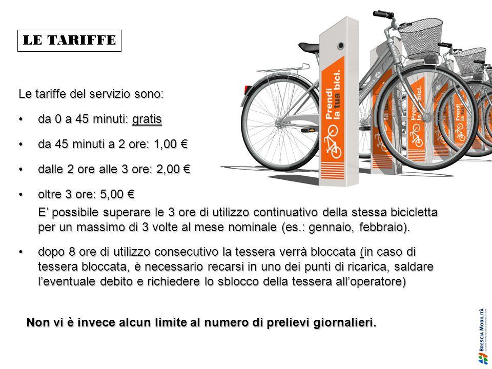 LE TARIFFE Le tariffe del servizio sono: da 0 a 45 minuti: gratisda 0 a 45 minuti: gratis da 45 minuti a 2 ore: 1,00da 45 minuti a 2 ore: 1,00 dalle 2