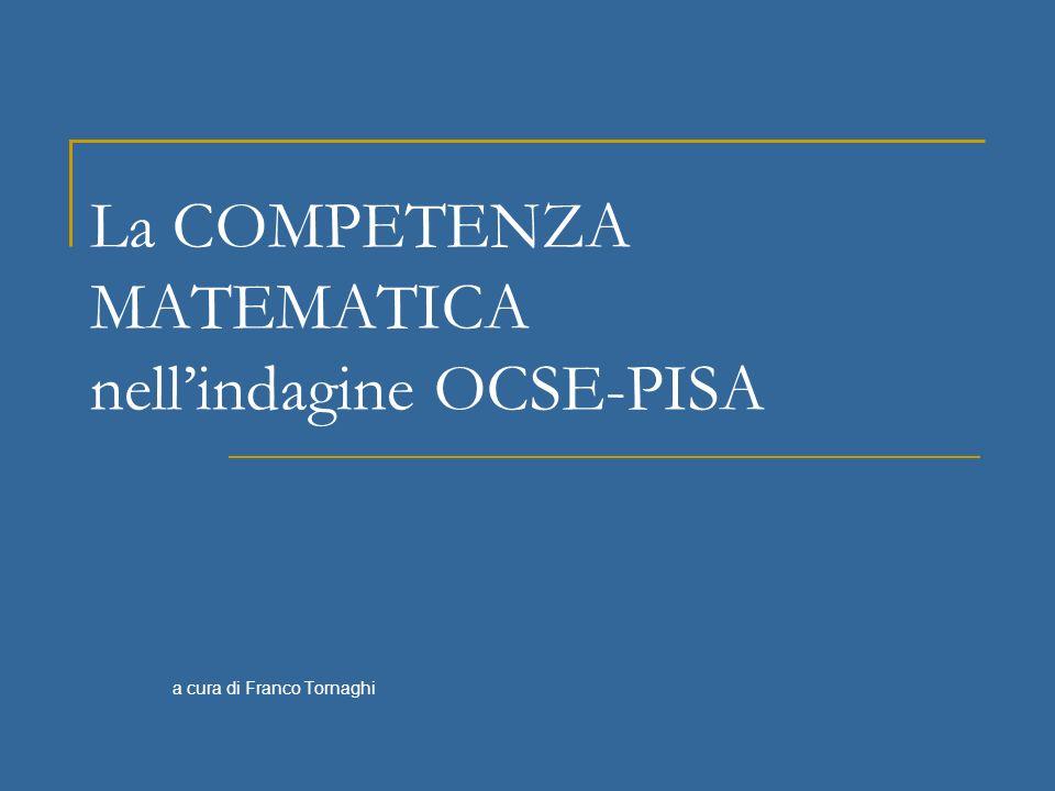 La COMPETENZA MATEMATICA nellindagine OCSE-PISA a cura di Franco Tornaghi