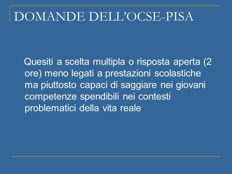 DOMANDE DELLOCSE-PISA Quesiti a scelta multipla o risposta aperta (2 ore) meno legati a prestazioni scolastiche ma piuttosto capaci di saggiare nei gi