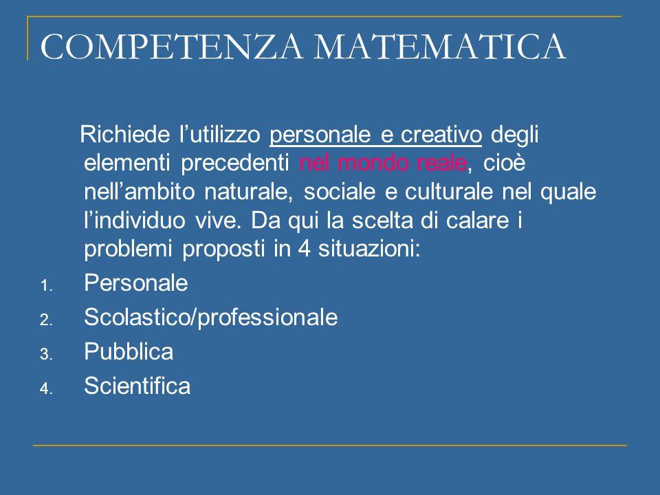 COMPETENZA MATEMATICA Per risolvere problemi bisogna utilizzare la matematica, ma essa si può (si deve!) anche apprezzare e godere.