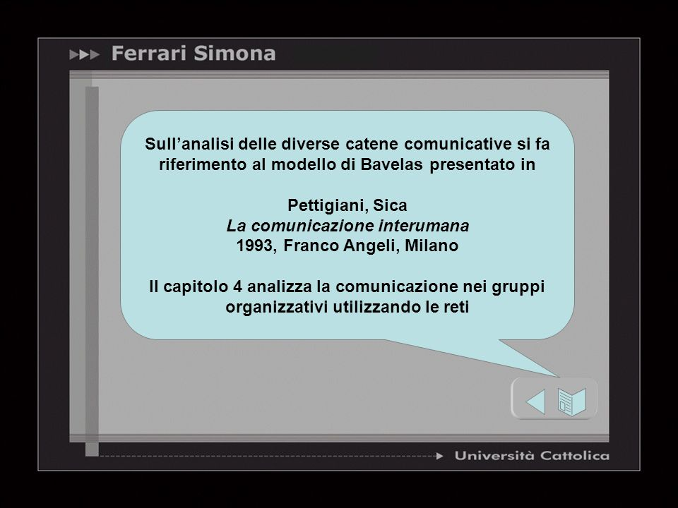 Sullanalisi delle diverse catene comunicative si fa riferimento al modello di Bavelas presentato in Pettigiani, Sica La comunicazione interumana 1993,