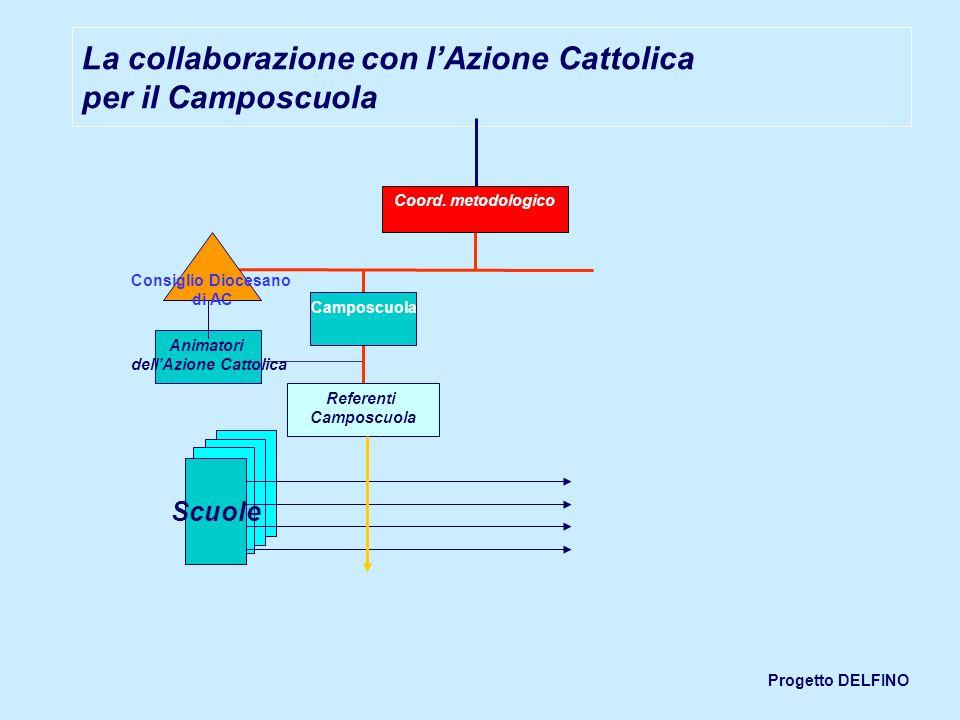 Progetto DELFINO Camposcuola Referenti Camposcuola La collaborazione con lAzione Cattolica per il Camposcuola Coord. metodologico Scuole Animatori del