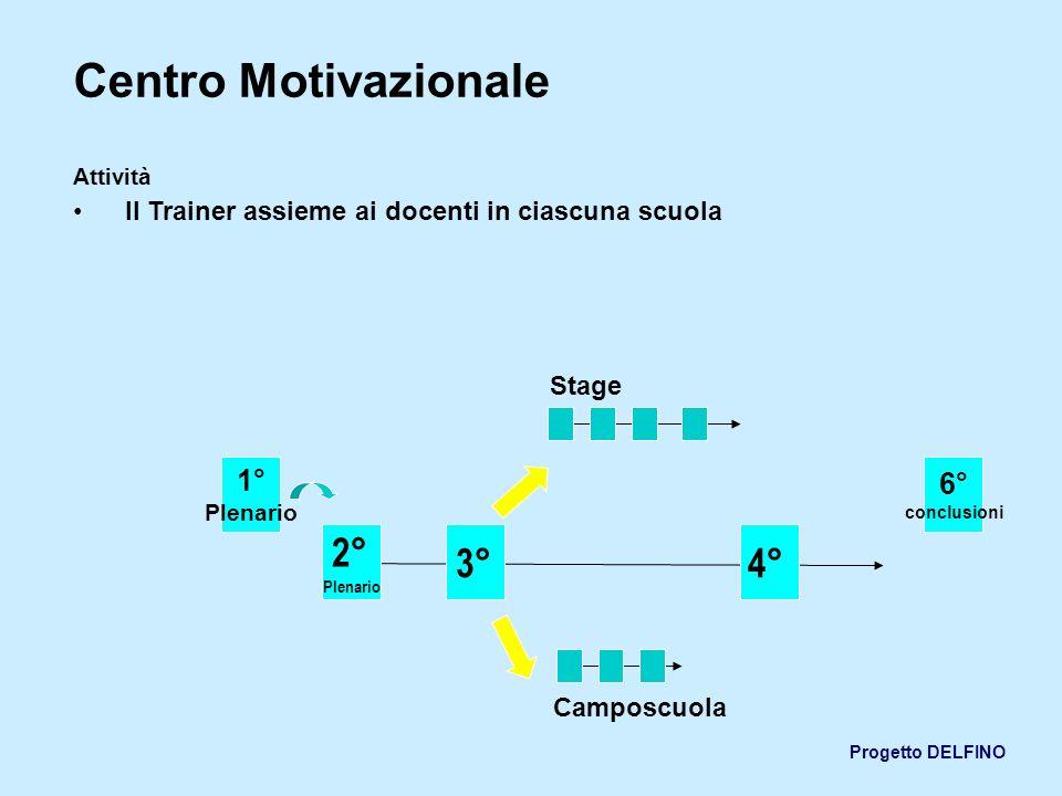 Progetto DELFINO Centro Motivazionale Attività Il Trainer assieme ai docenti in ciascuna scuola 1° Plenario 2° Plenario 3°4° 6° conclusioni Stage Camp