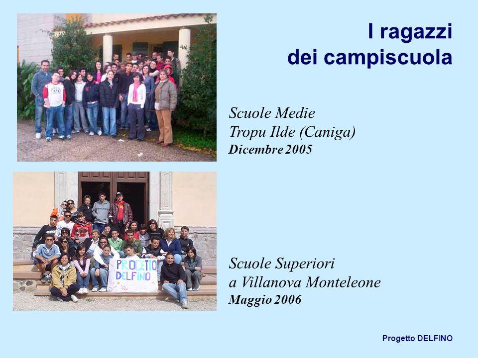Progetto DELFINO I ragazzi dei campiscuola Scuole Medie Tropu Ilde (Caniga) Dicembre 2005 Scuole Superiori a Villanova Monteleone Maggio 2006