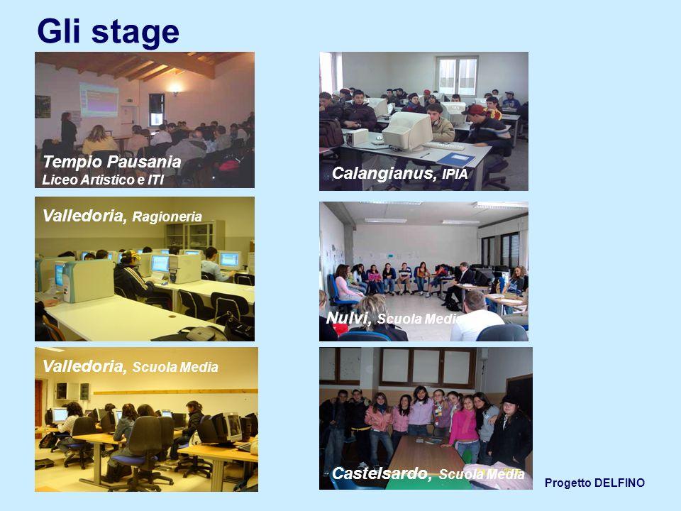 Progetto DELFINO Gli stage Tempio Pausania Liceo Artistico e ITI Calangianus, IPIA Valledoria, Ragioneria Valledoria, Scuola Media Nulvi, Scuola Media