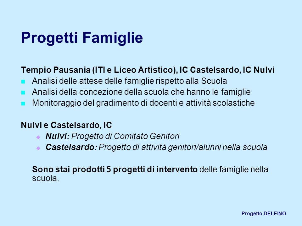 Progetto DELFINO Progetti Famiglie Tempio Pausania (ITI e Liceo Artistico), IC Castelsardo, IC Nulvi Analisi delle attese delle famiglie rispetto alla