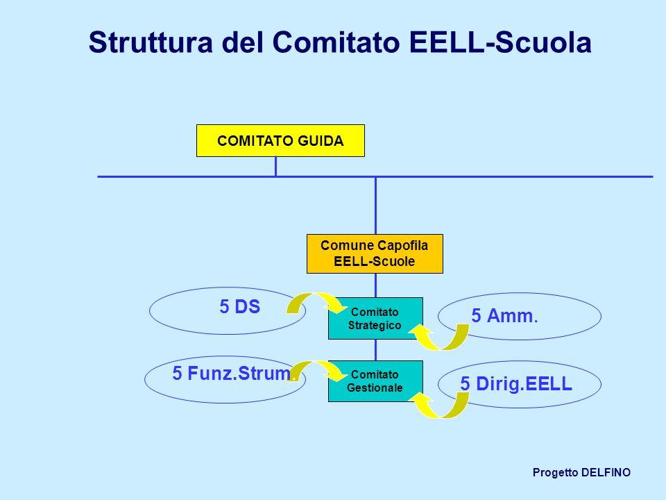Progetto DELFINO Struttura del Comitato EELL-Scuola Comitato Strategico Comitato Gestionale Comune Capofila EELL-Scuole COMITATO GUIDA 5 DS 5 Amm. 5 D