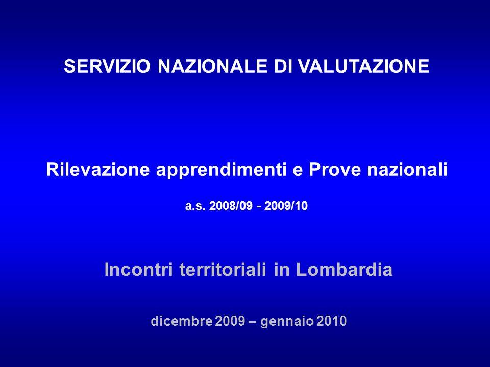 I risultati della Lombardia (V primaria) rispetto al Nord e allItalia