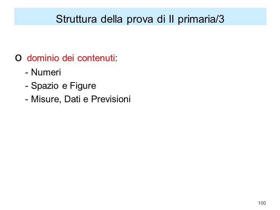 Struttura della prova di II primaria/3 o dominio dei contenuti: - Numeri - Spazio e Figure - Misure, Dati e Previsioni 100