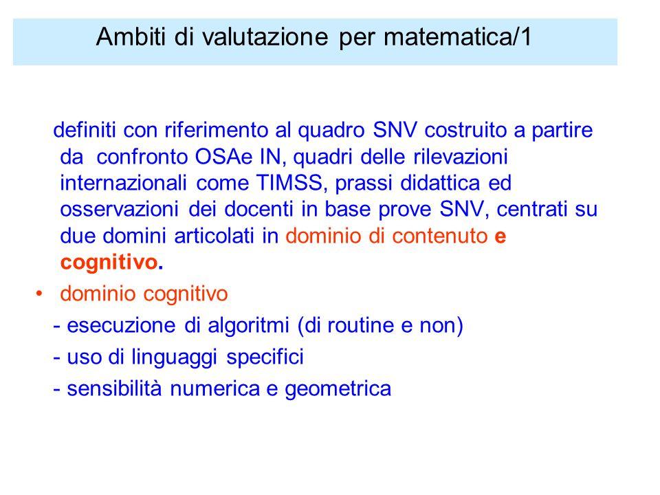 Ambiti di valutazione per matematica/1 definiti con riferimento al quadro SNV costruito a partire da confronto OSAe IN, quadri delle rilevazioni internazionali come TIMSS, prassi didattica ed osservazioni dei docenti in base prove SNV, centrati su due domini articolati in dominio di contenuto e cognitivo.