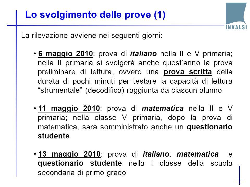 Lo svolgimento delle prove (1) La rilevazione avviene nei seguenti giorni: 6 maggio 2010: prova di italiano nella II e V primaria; nella II primaria si svolgerà anche questanno la prova preliminare di lettura, ovvero una prova scritta della durata di pochi minuti per testare la capacità di lettura strumentale (decodifica) raggiunta da ciascun alunno 11 maggio 2010: prova di matematica nella II e V primaria; nella classe V primaria, dopo la prova di matematica, sarà somministrato anche un questionario studente 13 maggio 2010: prova di italiano, matematica e questionario studente nella I classe della scuola secondaria di primo grado