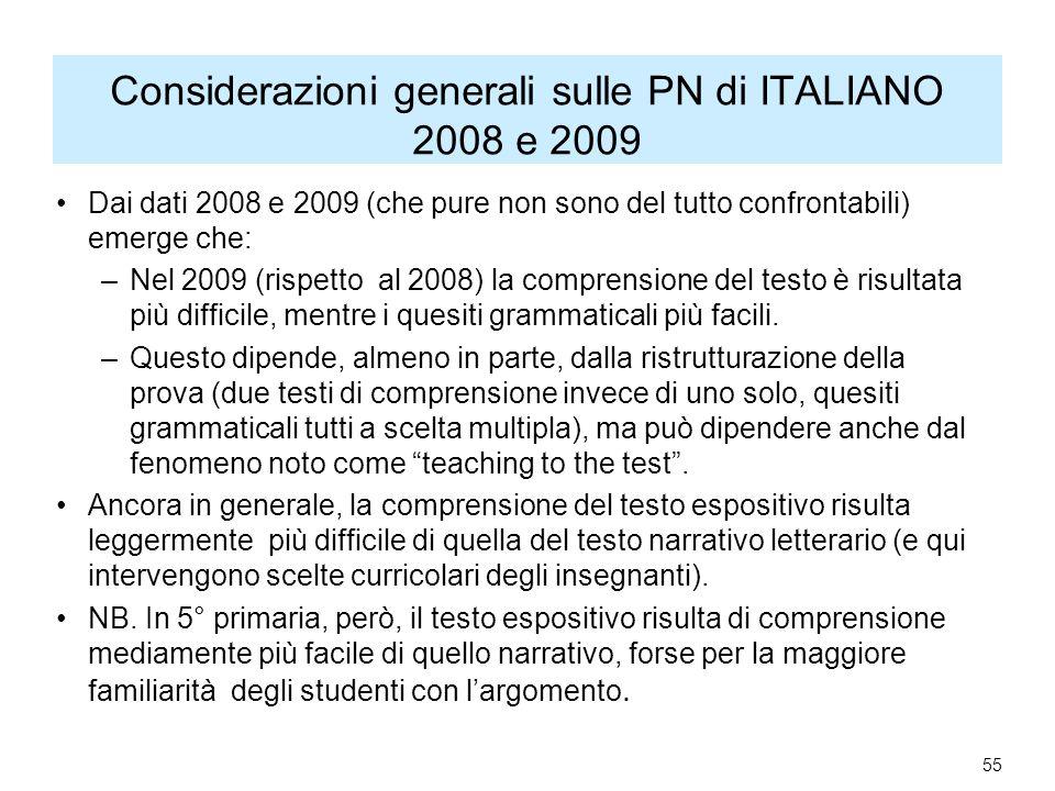 Considerazioni generali sulle PN di ITALIANO 2008 e 2009 Dai dati 2008 e 2009 (che pure non sono del tutto confrontabili) emerge che: –Nel 2009 (rispetto al 2008) la comprensione del testo è risultata più difficile, mentre i quesiti grammaticali più facili.