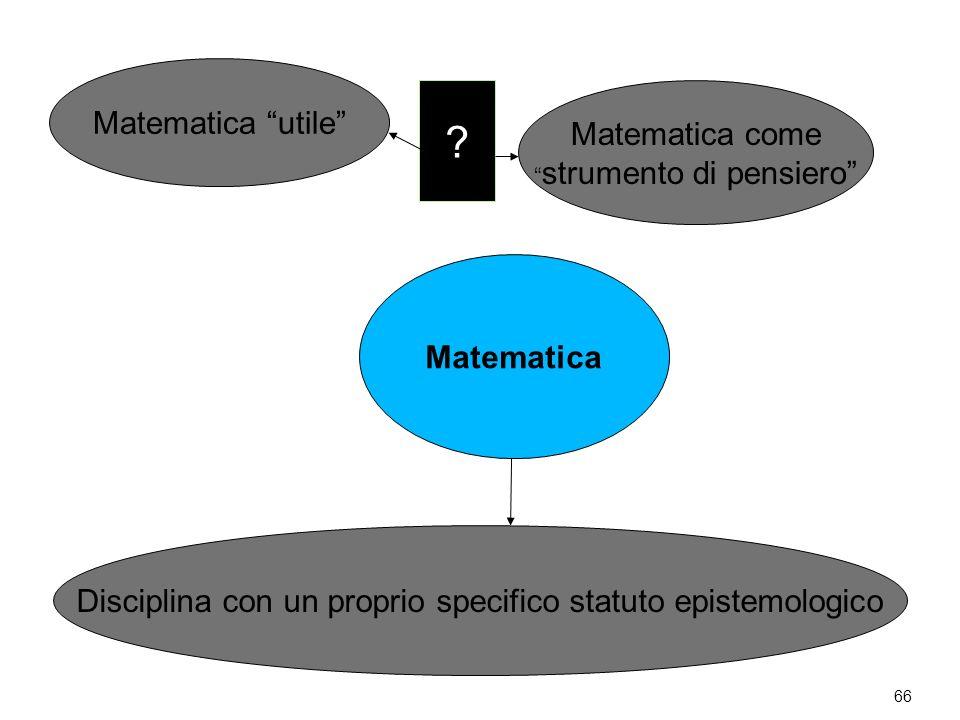 66 Matematica Matematica utile Matematica come strumento di pensiero Disciplina con un proprio specifico statuto epistemologico