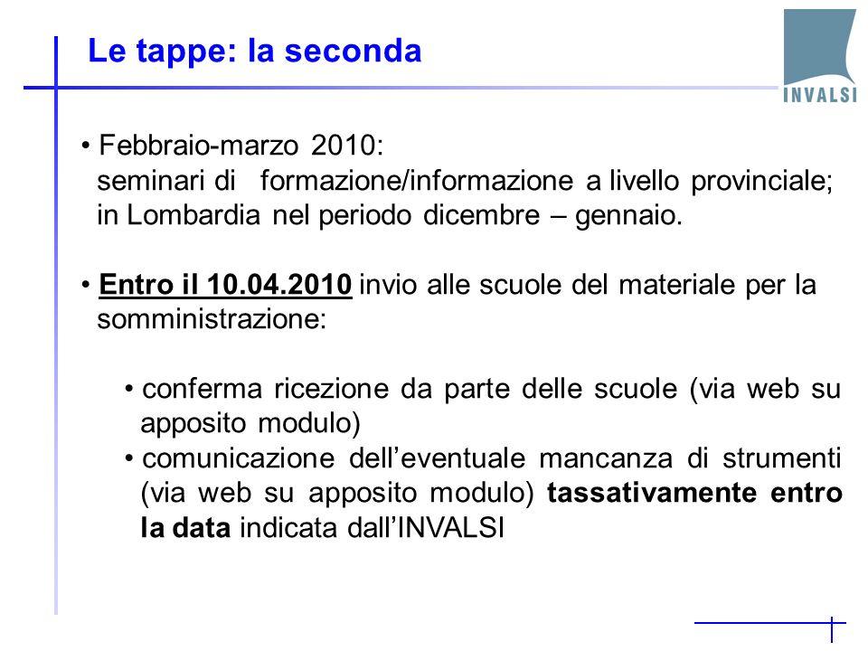 Le tappe: la seconda Febbraio-marzo 2010: seminari di formazione/informazione a livello provinciale; in Lombardia nel periodo dicembre – gennaio.