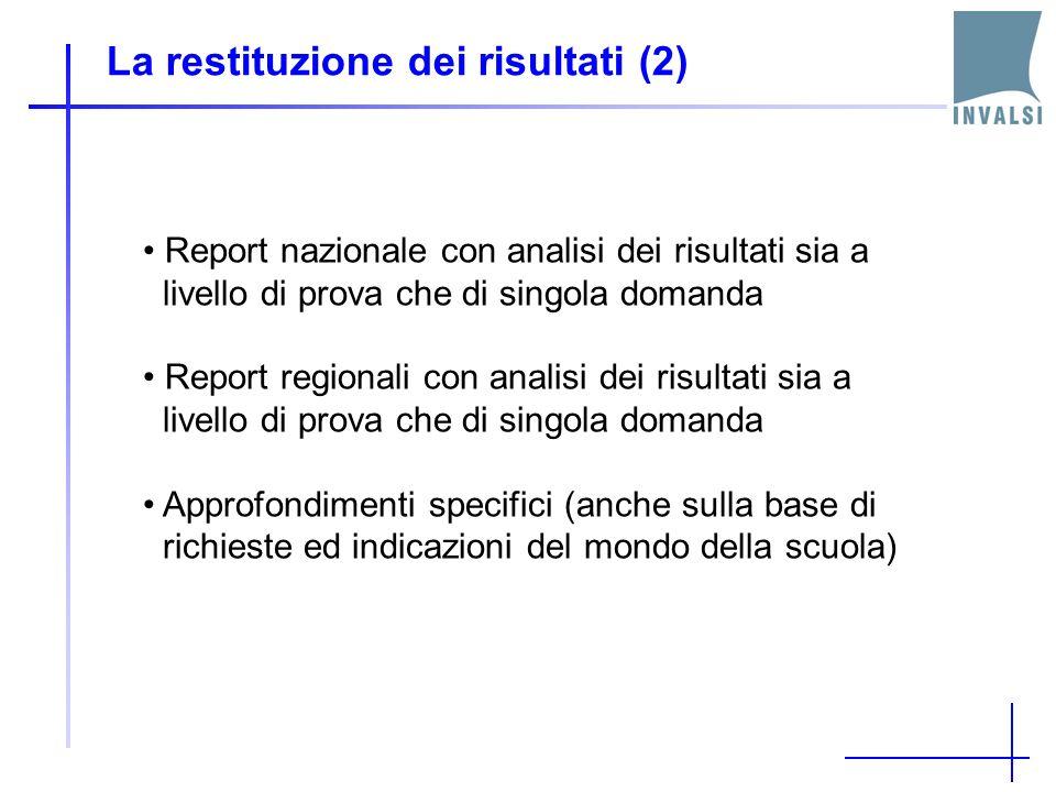 La restituzione dei risultati (2) Report nazionale con analisi dei risultati sia a livello di prova che di singola domanda Report regionali con analisi dei risultati sia a livello di prova che di singola domanda Approfondimenti specifici (anche sulla base di richieste ed indicazioni del mondo della scuola)