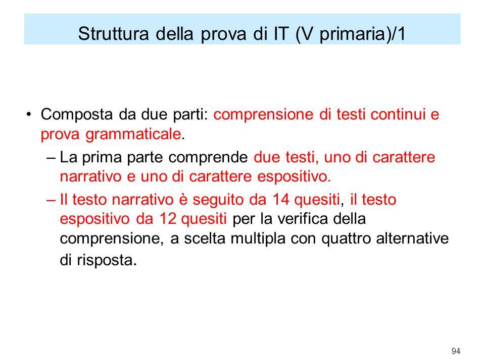 Struttura della prova di IT (V primaria)/1 Composta da due parti: comprensione di testi continui e prova grammaticale.
