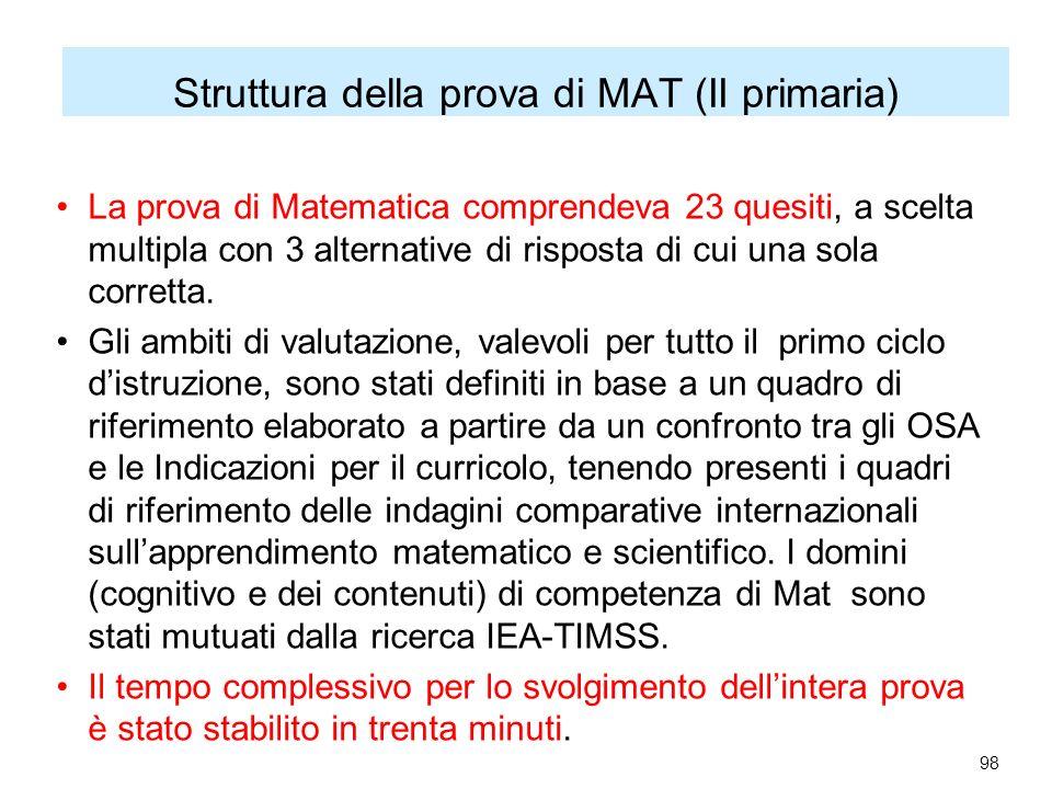 Struttura della prova di MAT (II primaria) La prova di Matematica comprendeva 23 quesiti, a scelta multipla con 3 alternative di risposta di cui una sola corretta.