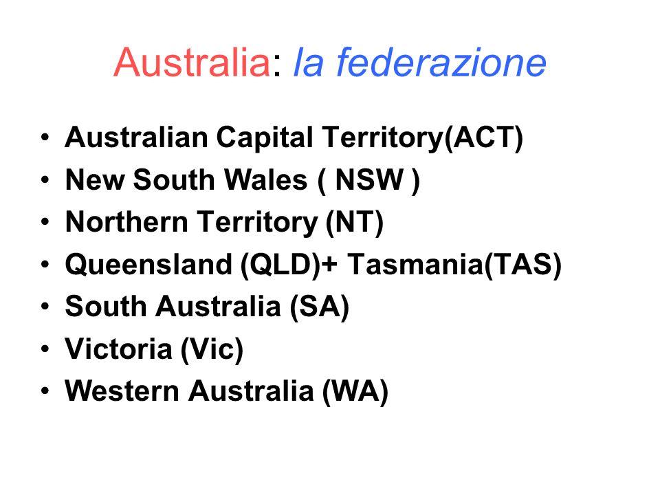 Australia: la federazione Australian Capital Territory(ACT) New South Wales ( NSW ) Northern Territory (NT) Queensland (QLD)+ Tasmania(TAS) South Aust