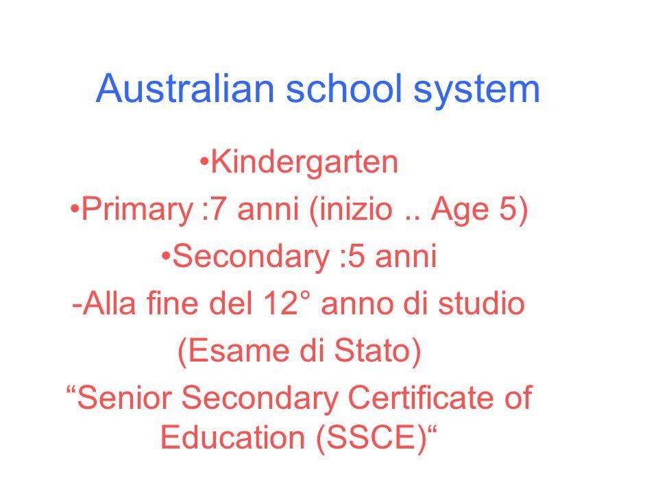 Australian school system Kindergarten Primary:7 anni (inizio.. Age 5) Secondary :5 anni -Alla fine del 12° anno di studio (Esame di Stato) Senior Seco