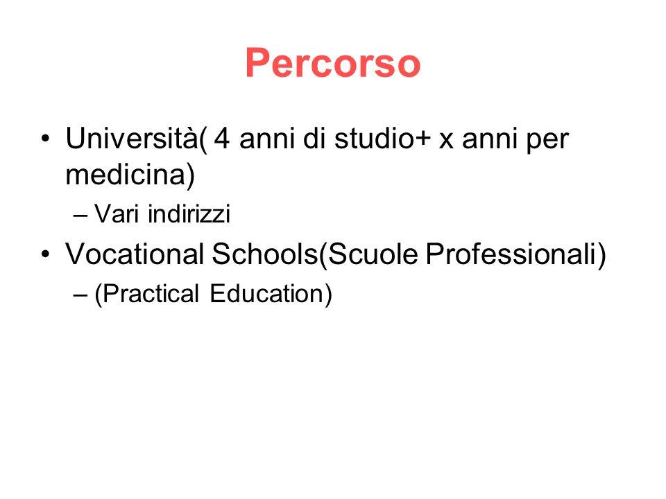 Percorso Università( 4 anni di studio+ x anni per medicina) –Vari indirizzi Vocational Schools(Scuole Professionali) –(Practical Education)