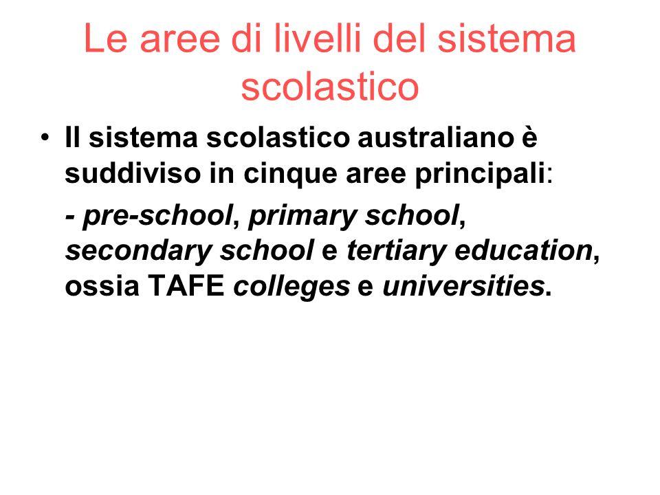 Le aree di livelli del sistema scolastico Il sistema scolastico australiano è suddiviso in cinque aree principali: - pre-school, primary school, secon