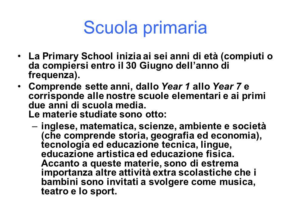 Scuola primaria La Primary School inizia ai sei anni di età (compiuti o da compiersi entro il 30 Giugno dellanno di frequenza). Comprende sette anni,