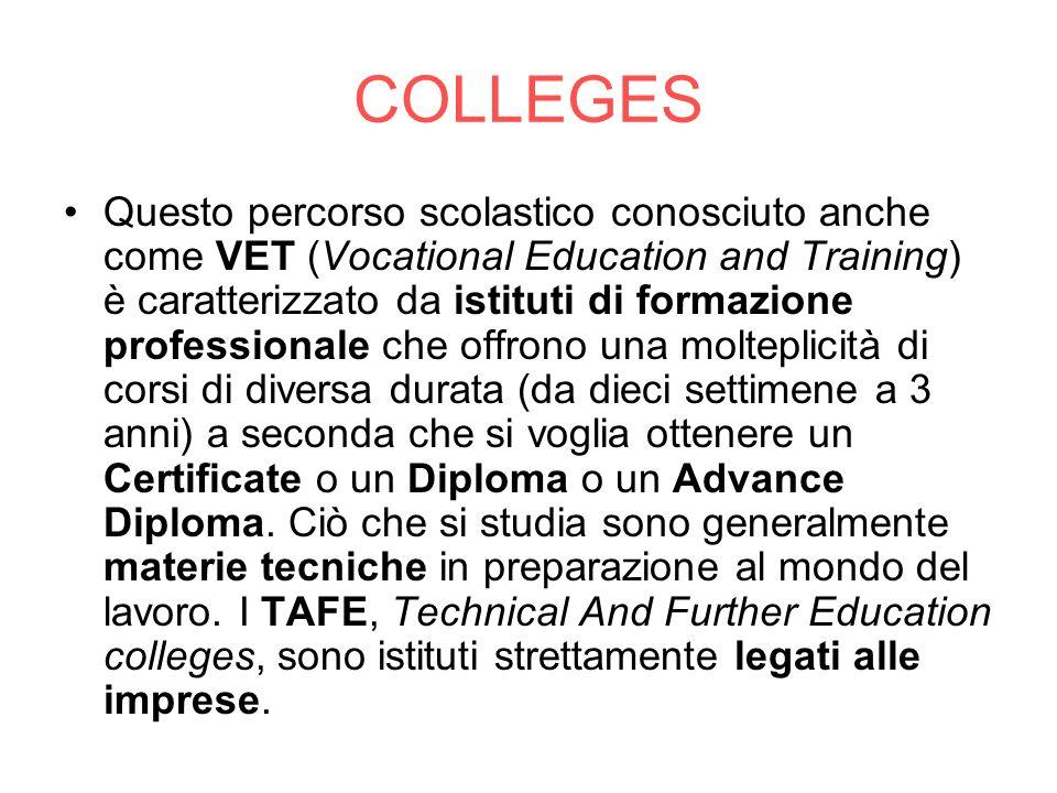 COLLEGES Questo percorso scolastico conosciuto anche come VET (Vocational Education and Training) è caratterizzato da istituti di formazione professio